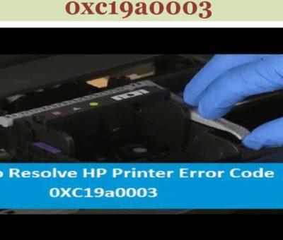 HP Printer Error Code 0xc19a0003